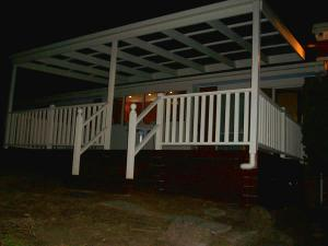 Deck and pergola with steps and railing