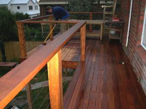 Merbau balcony with handrails