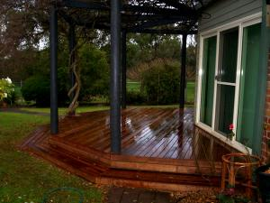 Timber deck and pergola with wisteria plant as shade