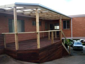 Timber decking for steep block-option