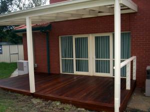 Timber pergola with timber deck