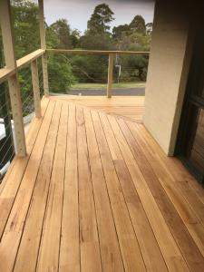 Timber Balcony with Stainless Steel and Pine Railings at Mt Eliza